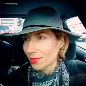 makeup, defined brows, bright red lip, no mascara look