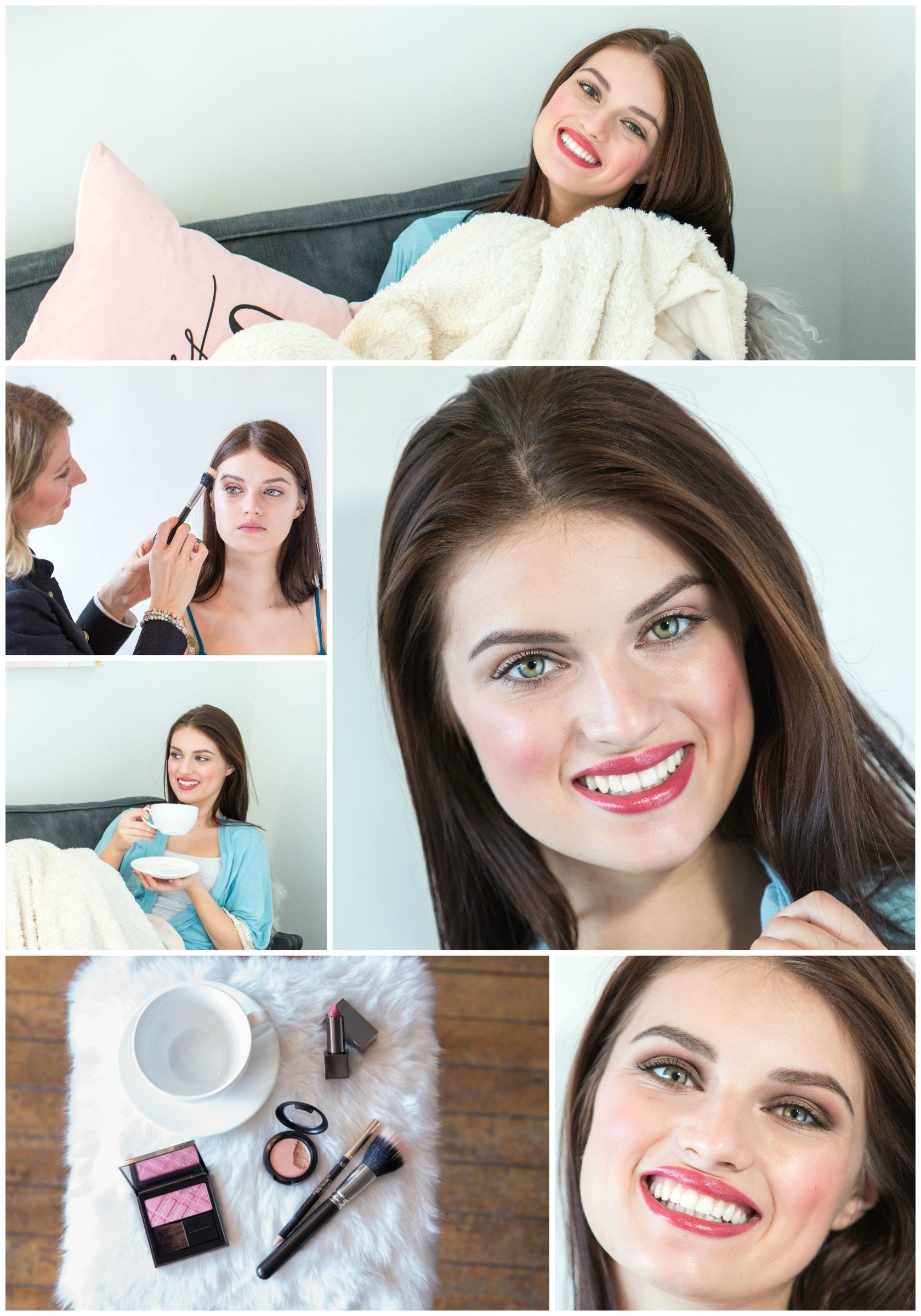 Wakeup Makeup Collage, behind the scenes doing makeup, makeup products