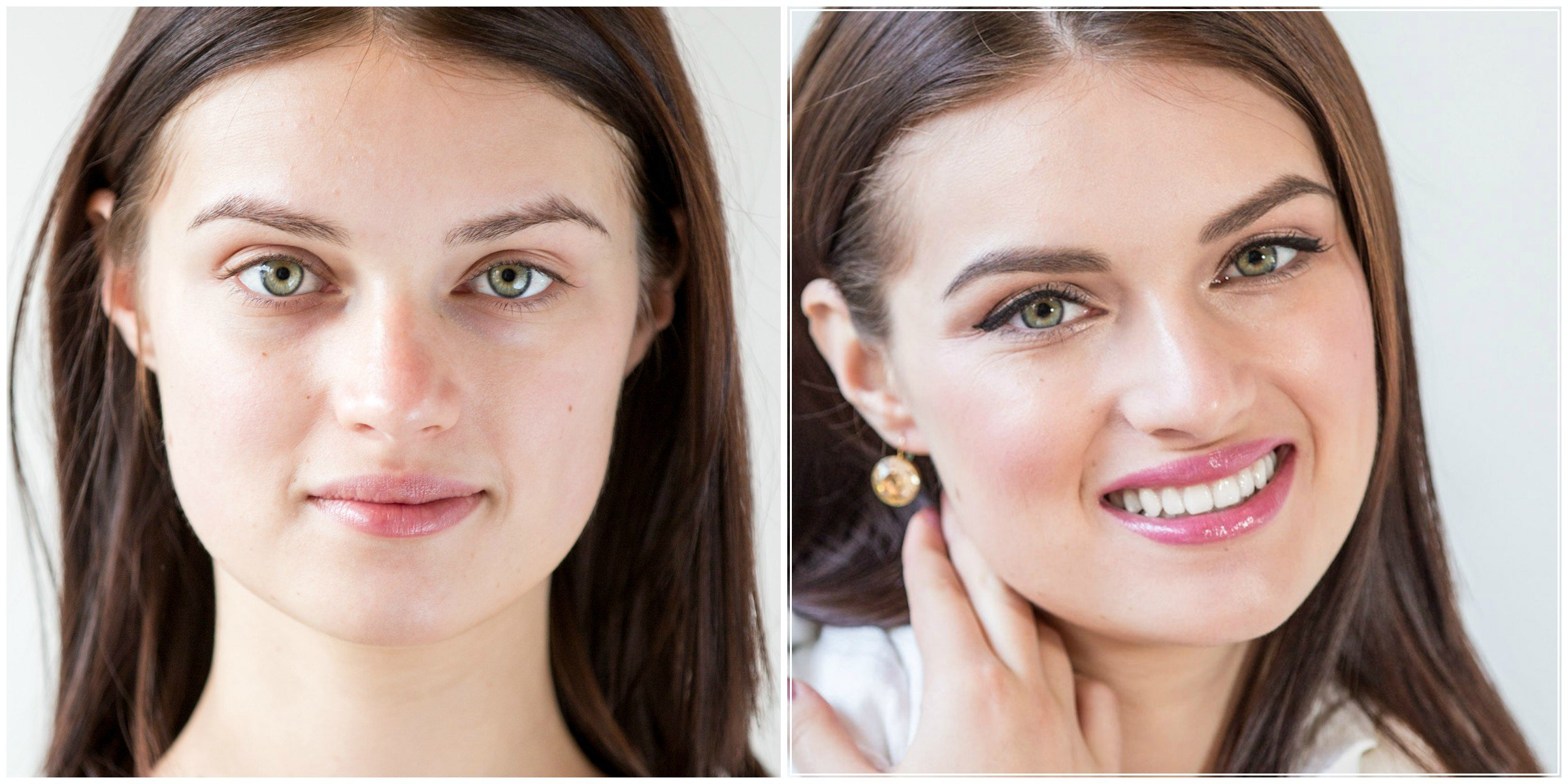 Before/After Makeup Look #2 Day Date, Natural Makeup, glow skin, pink lips, thin winged eye-liner, pretty date makeup