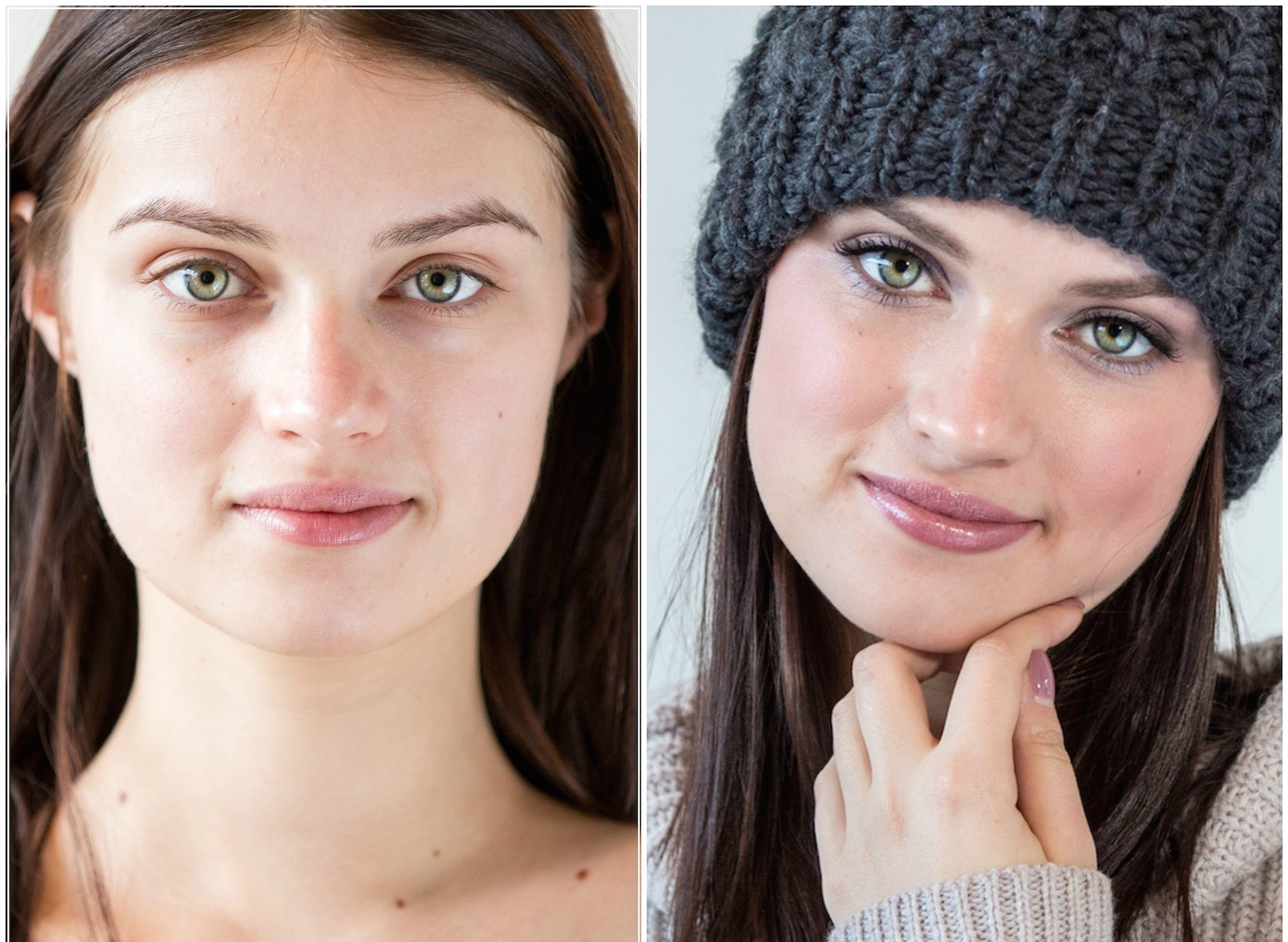 Winter Beauty Eco Makeup look Before and After