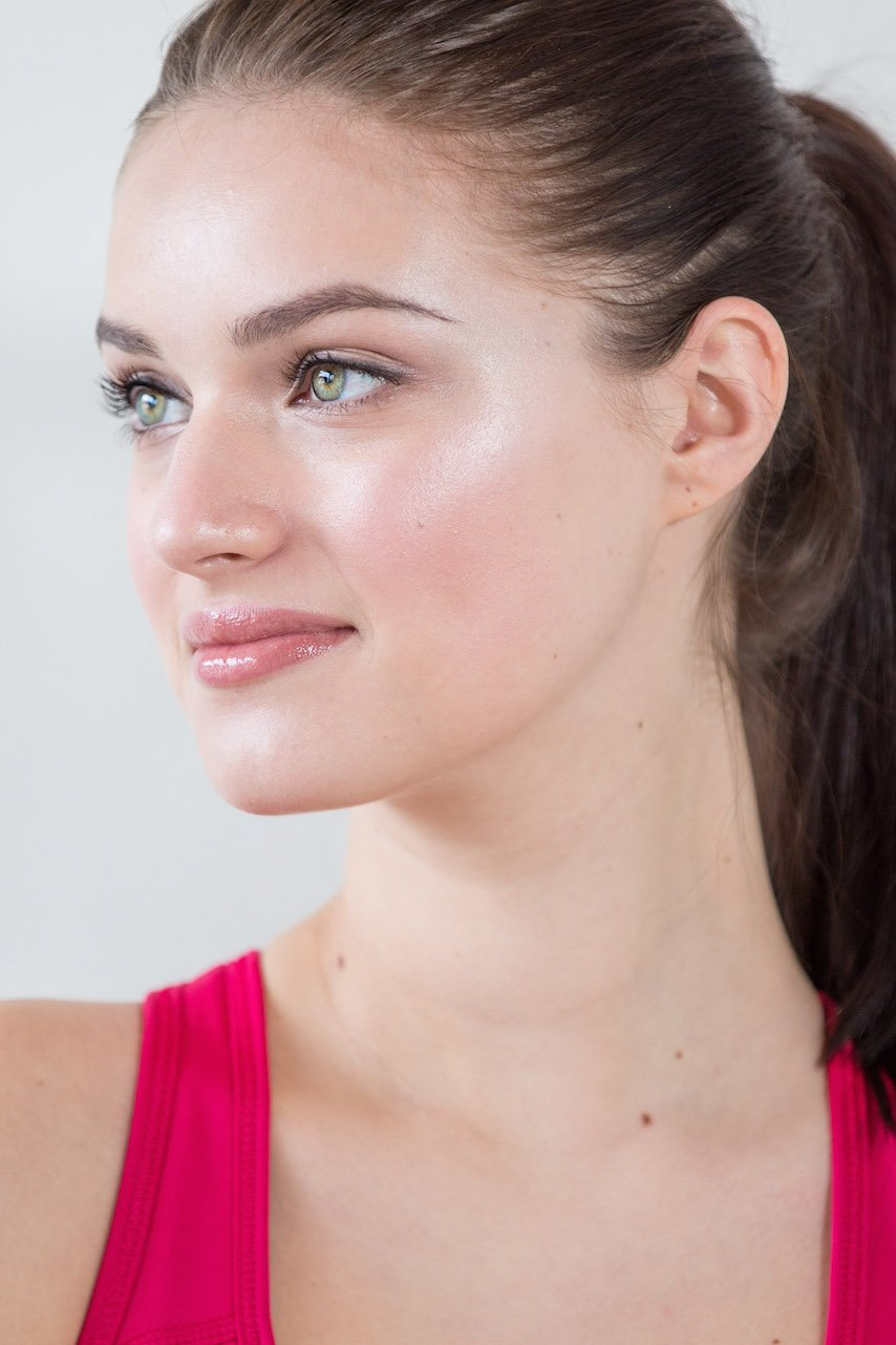 Fresh natural makeup with glowy radiant skin