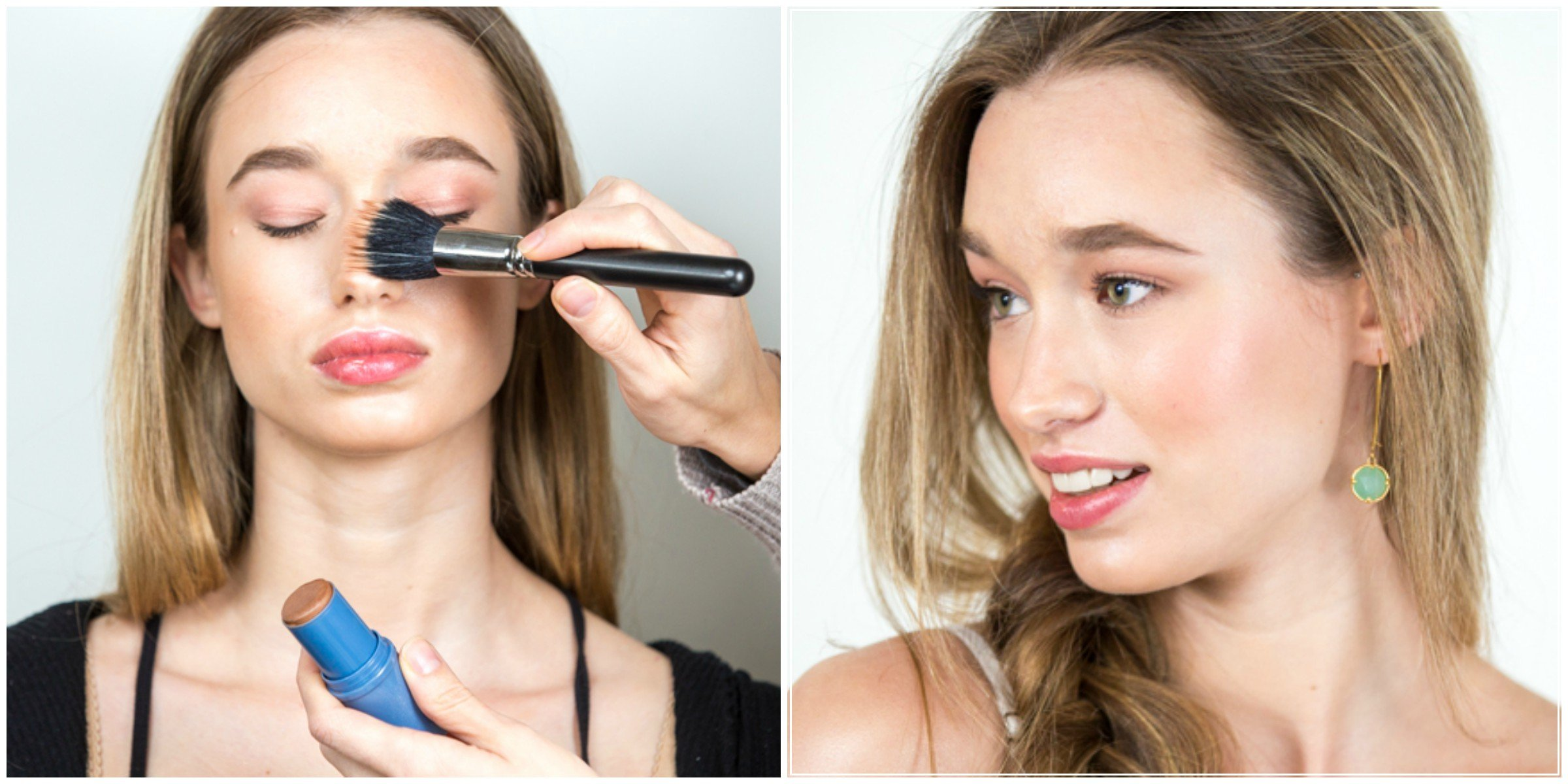 How to apply bronzer for a beach vacation makeup look with coral eyes and lips and glowy bronzed skin created by Ottawa makeup artist Klava Z