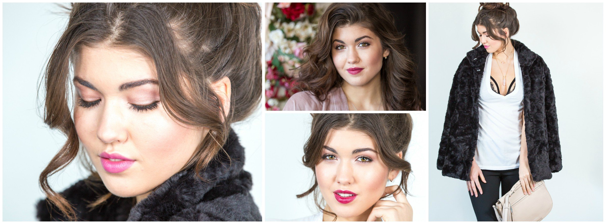 Klava Z, Ottawa makeup artist created natural beauty makeup with a shimmery brown eyes and pink lavender lips using only natural cosmetics. A fun collage of behind the scenes images from the photoshoot, styled outfit shots and model with beautiful makeup.