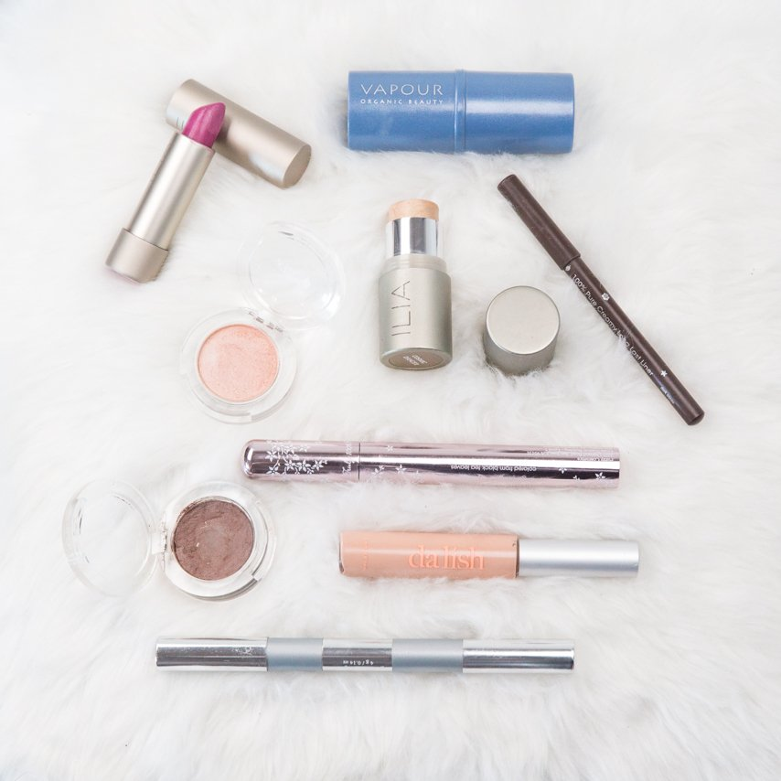 Natural Makeup Products by Ilia, Vapour, Dalish and 100% Pure cosmetics used by Klava Z, Ottawa makeup artist, to create a Natural Beauty Makeup Look Eco February