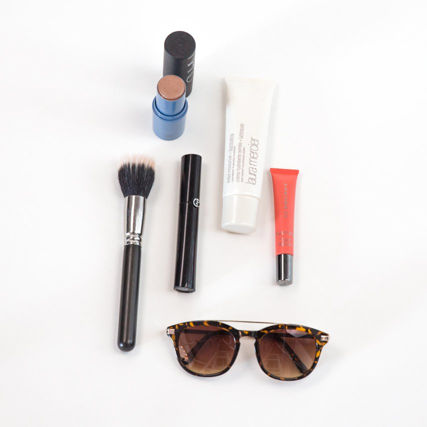 Makeup products used to create a beach vacation makeup look by Ottawa Makeup Artist Klava Z