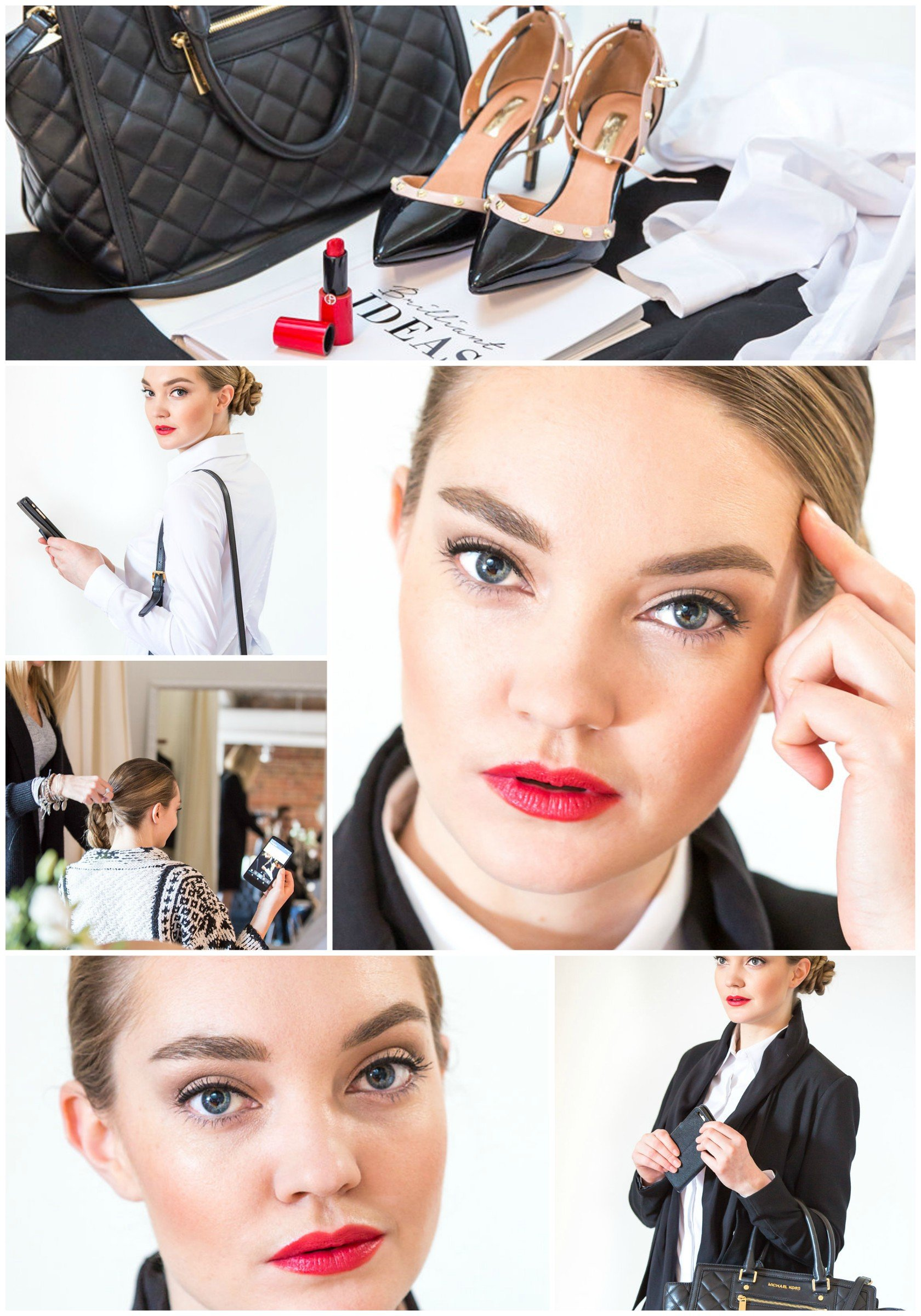 Professional makeup look for work with red lips and classic eye makeup created by Klava Z Ottawa makeup artist
