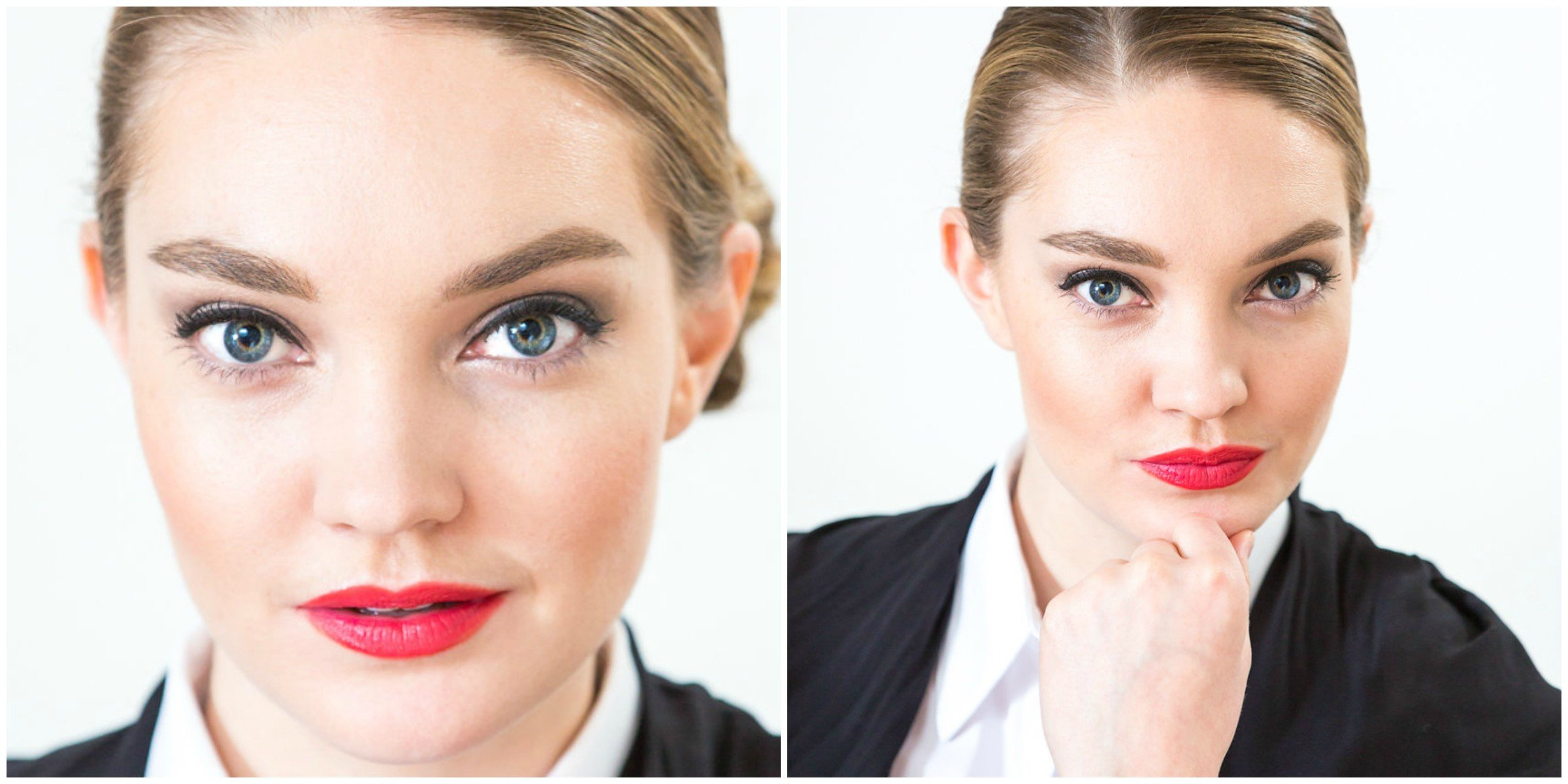 Amped up version of the Professional makeup look for work with red lips and classic grey eye shadow makeup created by Klava Z Ottawa makeup artist