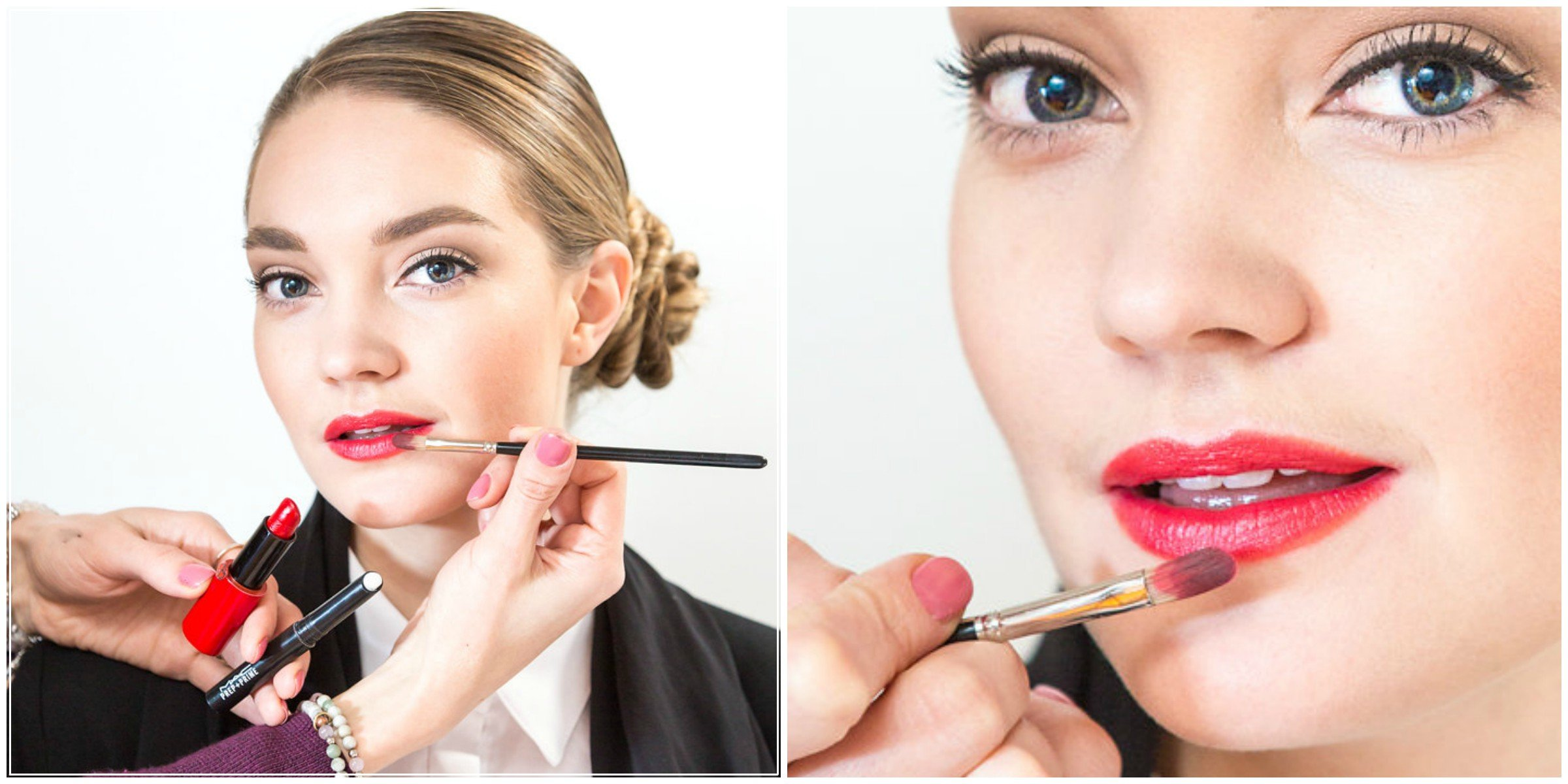 How to apply red lipstick for a professional makeup look for work with red lips and classic eye created by Klava Z Ottawa makeup artist