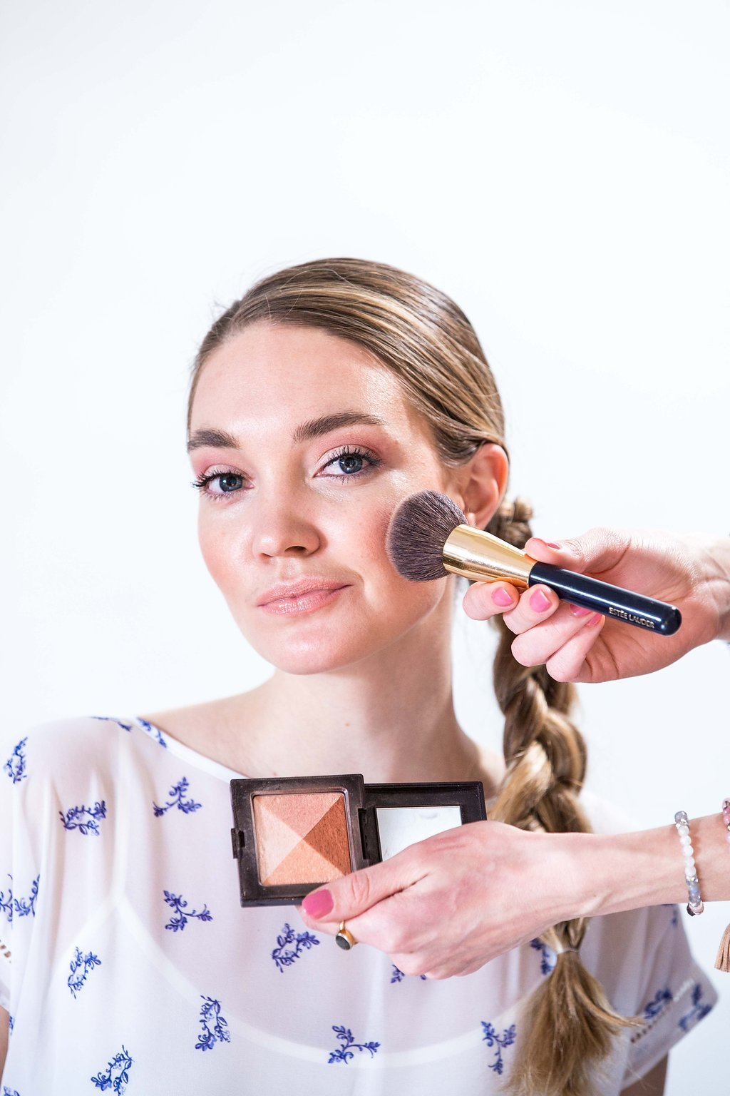 How to apply bronzer for the Effortless Bronzed makeup look for a casual weekend brunch with girlfriends created by Klava Z Ottawa makeup artist focused on bronzed glow, soft pink eyeshadows and nude lips.