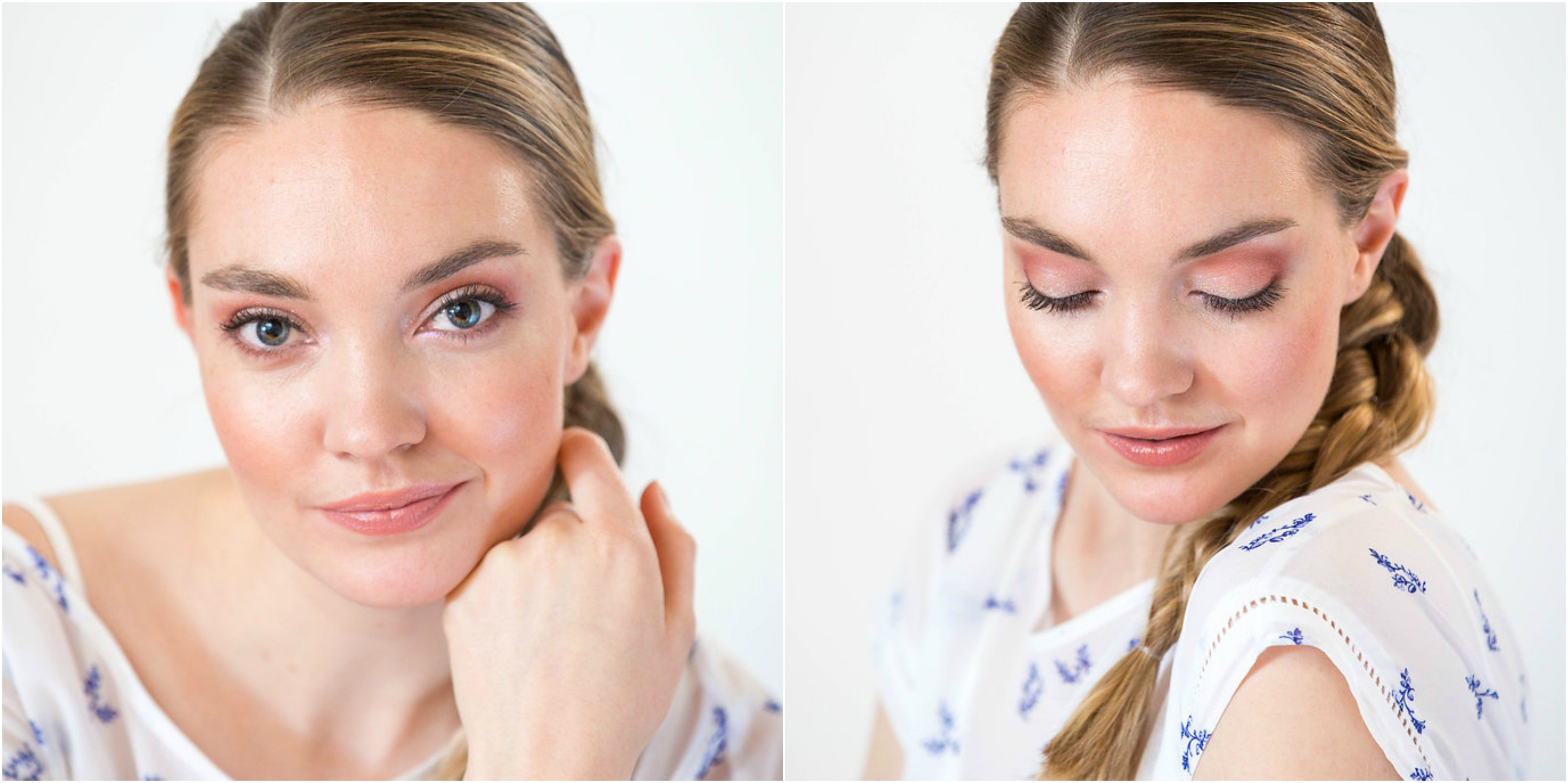Effortless Bronzed makeup look for a casual weekend brunch with girlfriends created by Klava Z Ottawa makeup artist focused on bronzed glow, soft pink and brown eyeshadows and nude lips.